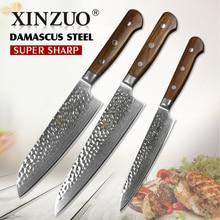 XINZUO 3 шт. Кухня Ножи набор шеф-повар Ножи Stainlesss Сталь Дамаск утилита ножи для нарезки Gyutou Santoku ножи палисандр ручки