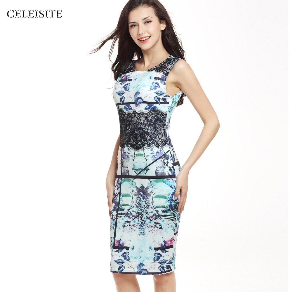 summer ' story CELEISITE Sexy Printed Lace Stitching Sleeveless Dresses For Women Elastic Party Wear Dress Bag Hip Pencil Slim Dresses C054