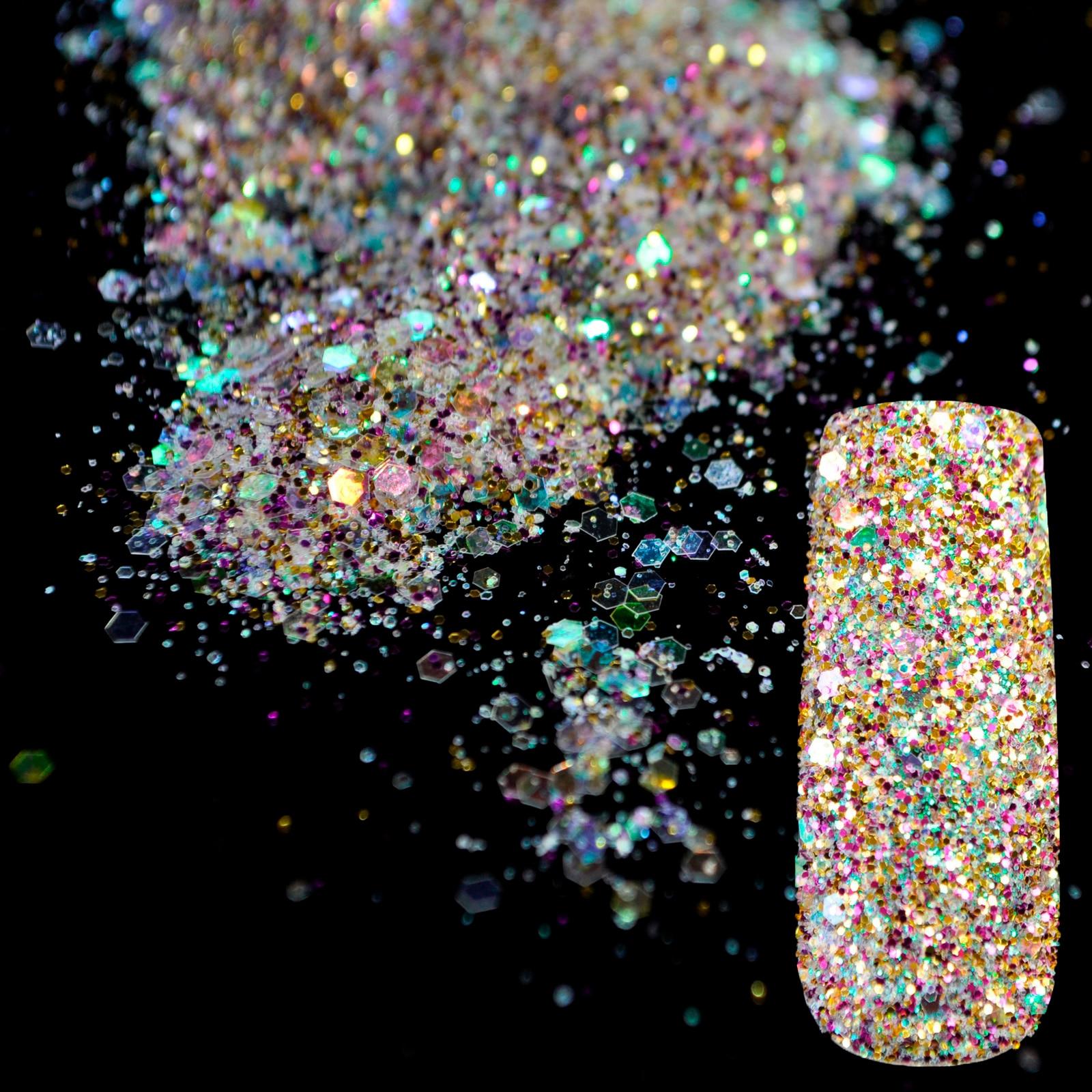 ᐅShining Abalone Transparents Sequins Dust DIY Nail Art Glitter Gem ...