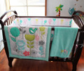 8 pieces Crib Infant Room Kids Baby Bedroom Set Nursery Bedding Floral sky blue cot bedding set for newborn baby girls