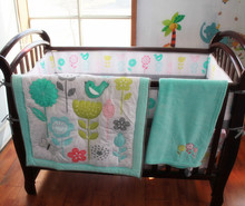 8 pieces Crib Infant Room Kids Baby Bedroom Set Nursery Bedding Floral sky blue cot bedding set for newborn baby girls