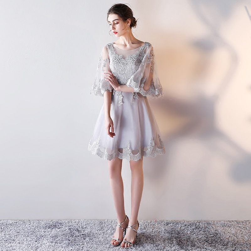 Elegant Gray Sheer Neck Flare Sleeve Vestidos De Festa Appliques Lace A-Line Mini   Bridesmaid     Dresses   Short Prom Party Gowns