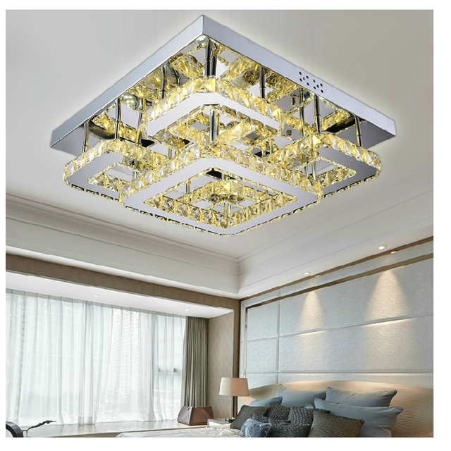 Modern Led Remote Control Rectangular Crystal Ceiling Lights Fixture For Bedroom Wireless Kitchen Plafond