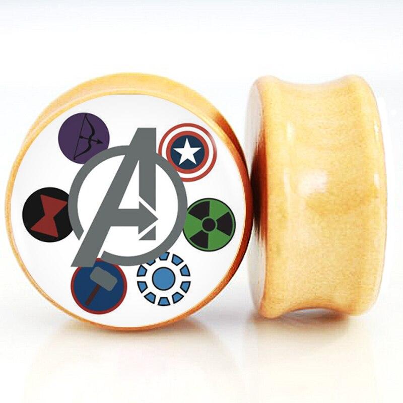 1 pair lot iron man logo ear plugs flesh tappi per le orecchie body piercing jewelry 6mm 25mm for Tappi per orecchie per musicisti