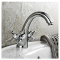 Deck Mounted Chrome Brass Bathroom Basin Faucet Dual Cross Handle Mixer Tap