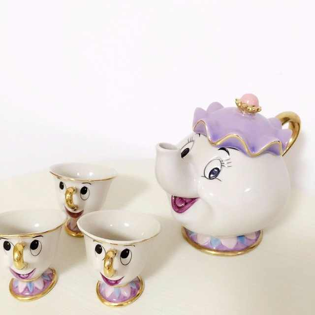Beauty and the Beast Phnom Penh Ceramic Teapot Lady Potts Chip Cup Cartoon Tea Set Creative Drinkware Gift Box Free Shipping