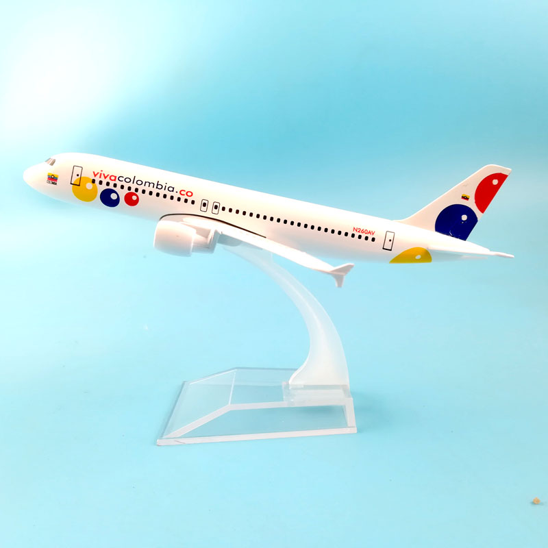 AIR PASSENGER PLANE 16CM VIVA COLOMBIA A320  AIRCRAFT MODEL MODEL PLANE SIMULATION 16CM ALLOY CHRISTMAS TOYS GIFTS CHILDREN