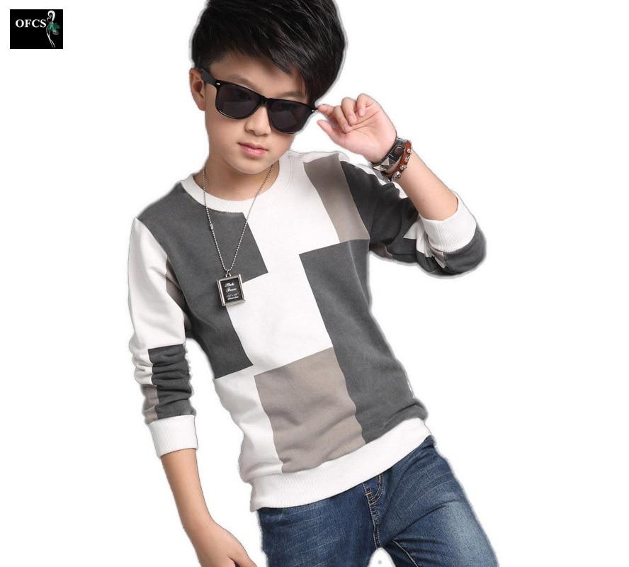 2019 New Fashion Children's Clothes, Boy Spring Check Long-Sleeved Grid Jacket T-shirt Kids Knitting Squares Cuhk Children 5-17
