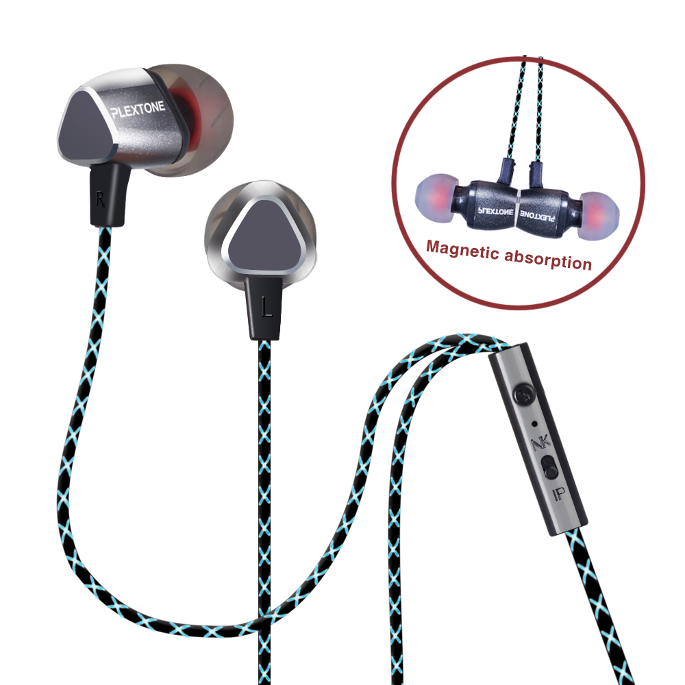 Plextone X36M In Ear Metal Magnetic Enthusiast Bass Earphone Stereo Earbuds Headset With Mic + Volume Control With MIC for Phone plextone g20 wired magnetic gaming headset in ear game earphone with mic stereo 2m bass earbuds computer earphone for pc phone