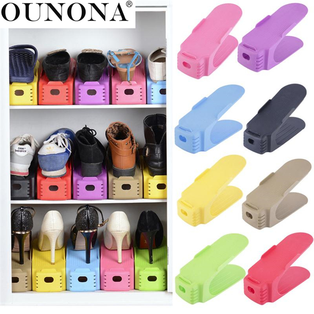 OUNONA 8pcs Plastic Shoes Storage Rack  Double-Wide Shoe Holder Save Space Shoes Organizer Stand Shelf  for Living Room