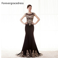 Forevergracedress Real Photo New Design Evening Dress Mermaid Long Applique Cap Sleeves Formal Party Dress Plus