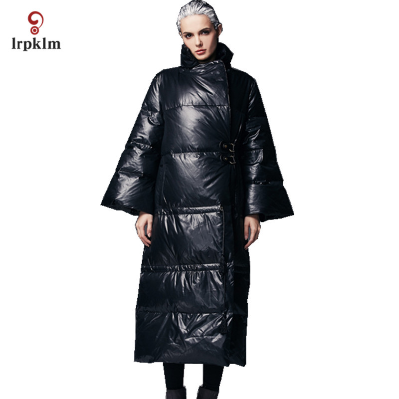 2017 Luxury New Fashion High Quality Women Winter Long   Down   Jackets Female Warm Ultra Duck   Down     Coat   Pagoda Sleeve Black PQ133