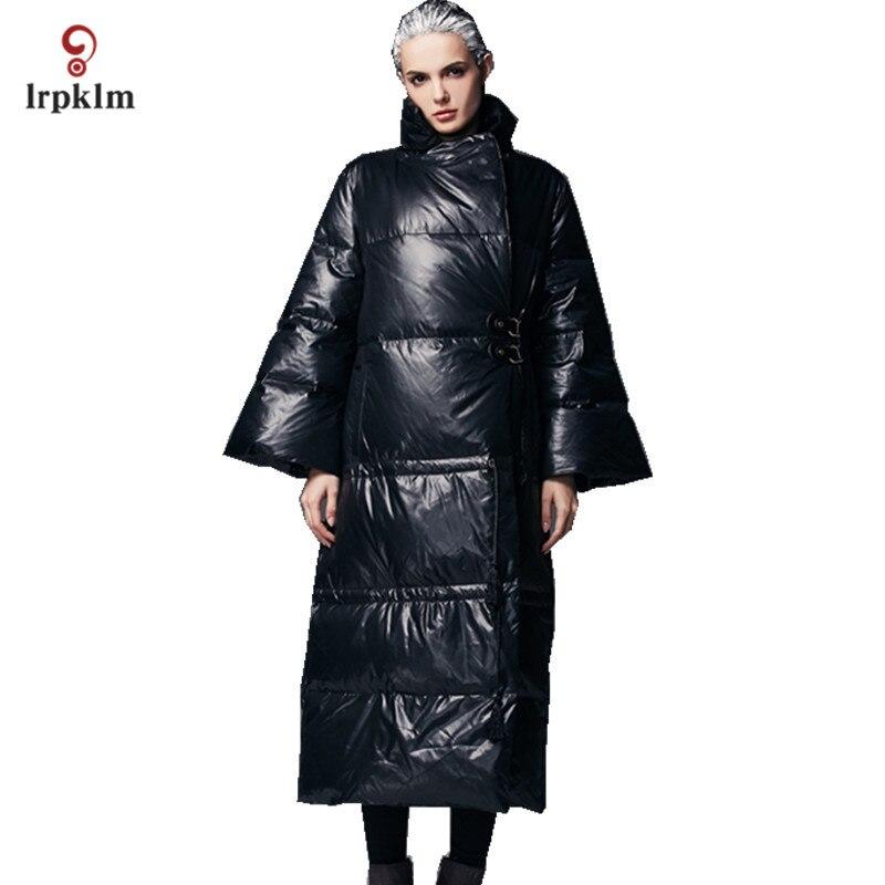 2017 Luxury New Fashion High Quality Women Winter Long Down Jackets Female Warm Ultra Duck Down Coat Pagoda Sleeve Black PQ133