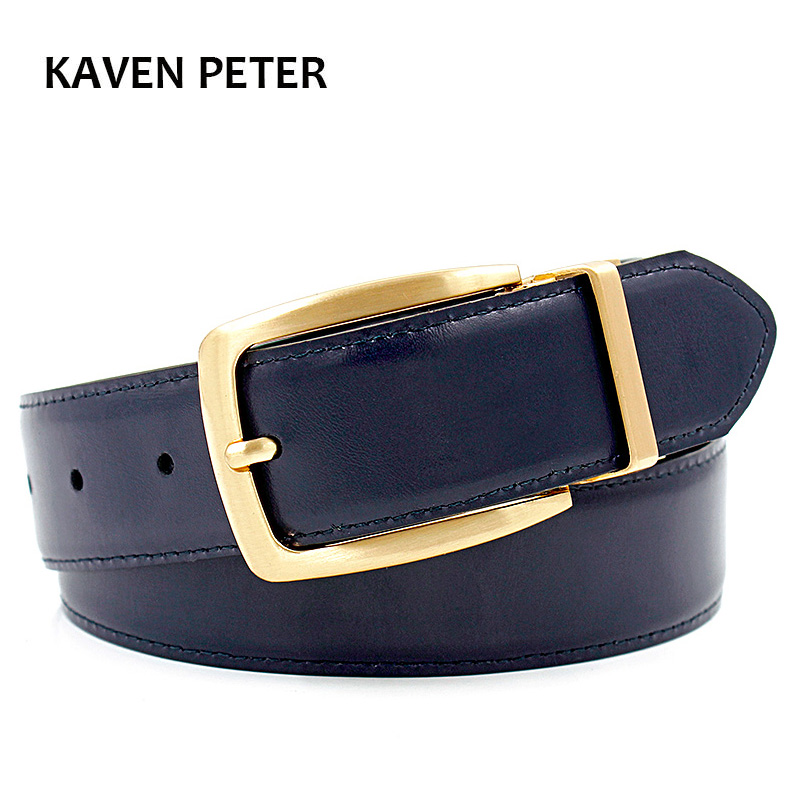 Luxury Gold Reversible Mens Waist   Belts   Real Leather Solid Brass Men's   Belt   Pure Brass   Belt   Reversible Buckle Free Shipping