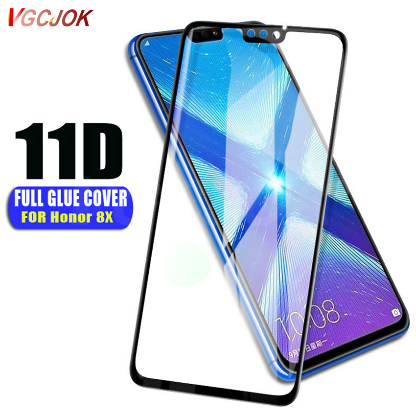 11D Full Glue Glass For Huawei Honor 8X Screen Protector 9H Tempered Film On For Huawei Honor8X Honor8 X Protective Glass Case