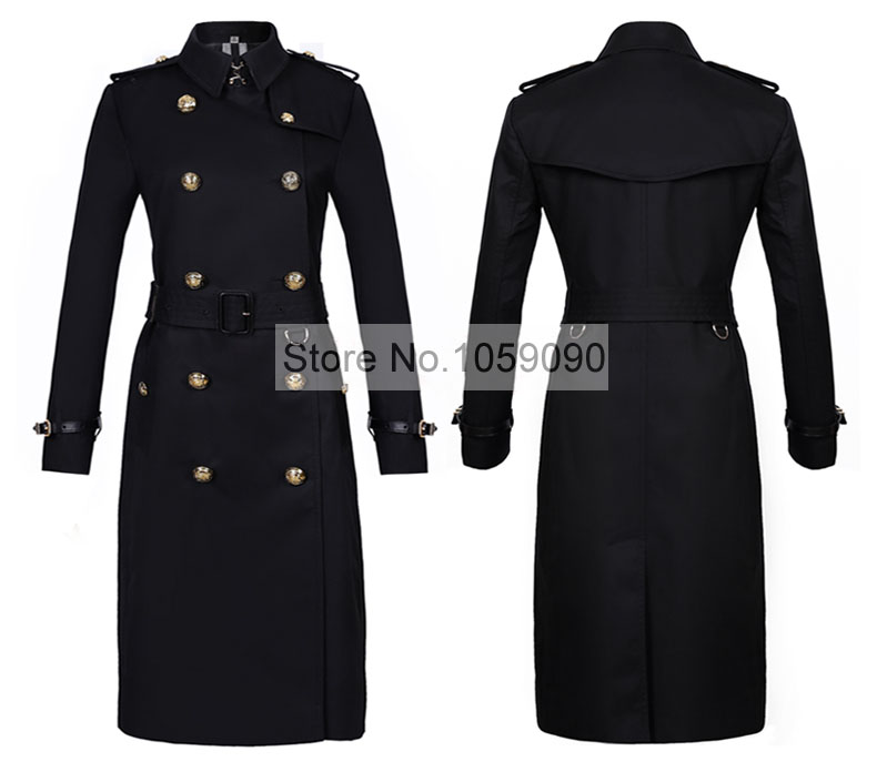 Black Classic Double Breasted Long Cotton Trench Coat Gold Embossed Buttoned Long Sleeved Shoulder Epaulets Waist Belted 2018