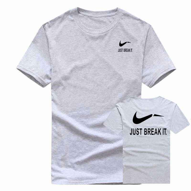 mens printed t shirt short summer drees short sleeve brand tshirt women fashion cotton printed JUST BREAK IT. t-shirt XXL