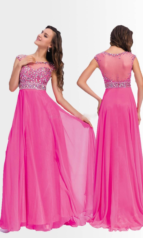 2015 nuevo tamaño atractivo Plus mujeres rosas vestido de noche ...