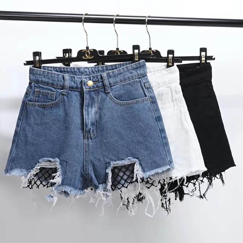 NiceMix 2019 Summer High Waist Shorts Women Fashion Mesh Patchwork Loose Water Washing Denim Shorts Pantalones Cortos Mujer