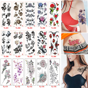 100 Sheets New Fashion Removable Women Lady 3D Flowers Waterproof Temporary Tattoo Stickers Beauty Body Art Tattoos