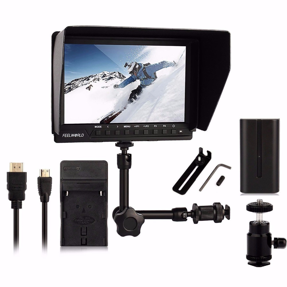 Feelworld FW760 FW-760 7'' Video Monitor IPS Full HD 1920x1200 1080p Camera Field Monitor + 7 inch Magic Arm + battery + charger