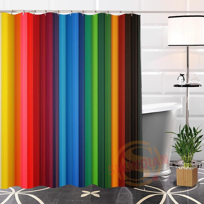 High Quality Custom Color background@1 Fabric Shower Curtain bathroom Waterproof Hot Popular Modern 100% Polyester H0223-93
