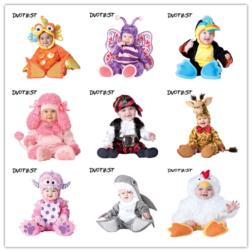 Baby Photography Props Fotografia Animals Halloween Cosplay Bodysuit+Hat Set Plush Costume Outfit Studio Shoot Playsuit Clothing