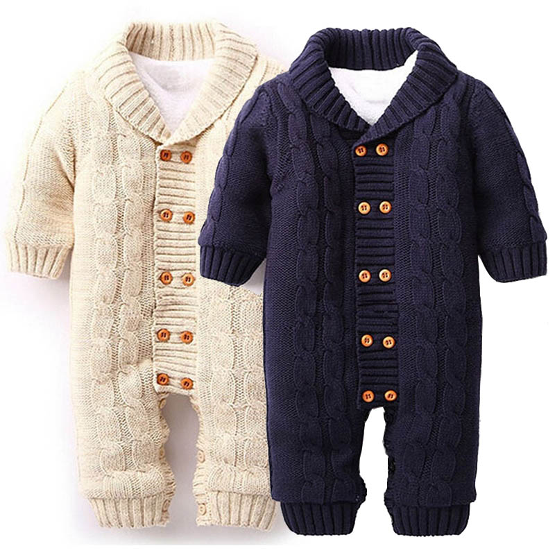 Newborn Baby Rompers Baby Clothes Long Sleeve Girl And Boy Winter Hooded Knitting Christmas Thicken Clothing Set Outwear D4 2017 new baby rompers winter thick warm baby girl boy clothing long sleeve hooded jumpsuit kids newborn outwear for 1 3t