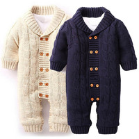 Newborn Baby Rompers Baby Clothes Long Sleeve Girl And Boy Winter Hooded Knitting Christmas Thicken Clothing Set Outwear D4