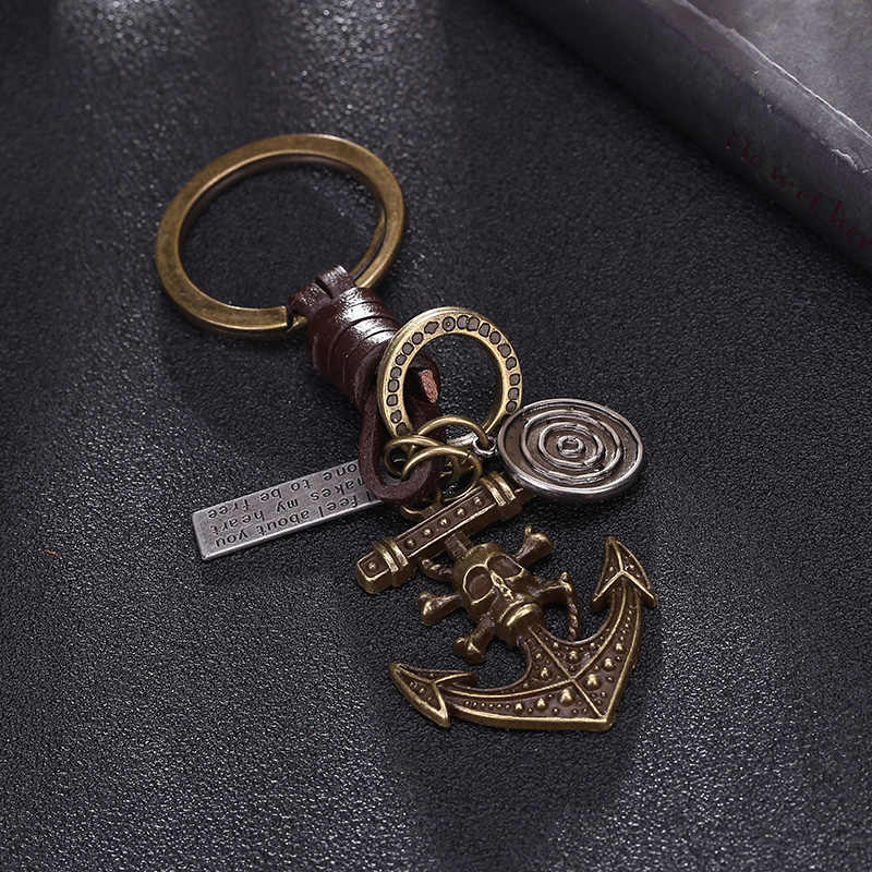 Leather Brass Keychains Pirate Anchor Pendant For Key Men Punk Key's Ring Chain Cover Holder Car Key Fob Bag Charm Trinket