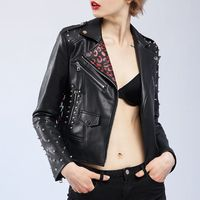 Punk Rivet Graffiti Motorcycle PU Leather Jacket 2017 Women Spring Autumn Slim Short Design Coat