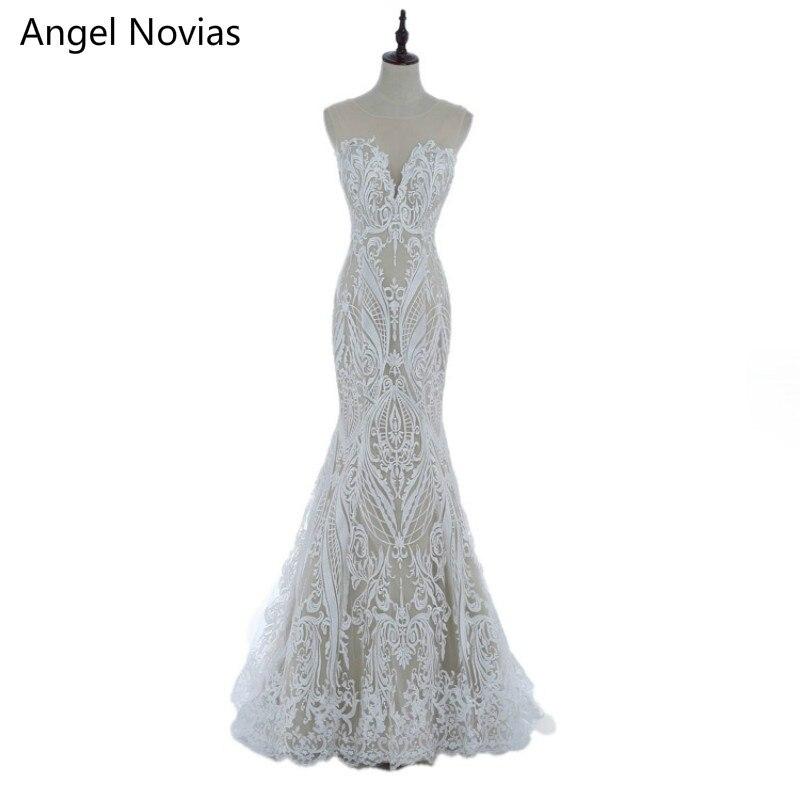 Angel Novias Long Bohemian Style Embroidery Lace Mermaid Wedding Dresses 2017 Boho Bridal Gowns Vestidos De Noiva De Luxo 2017