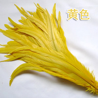 100 root 35 40cm / 14 16inch yellow natural cock feather / rooster feather / chicken / role play wedding decoration feather