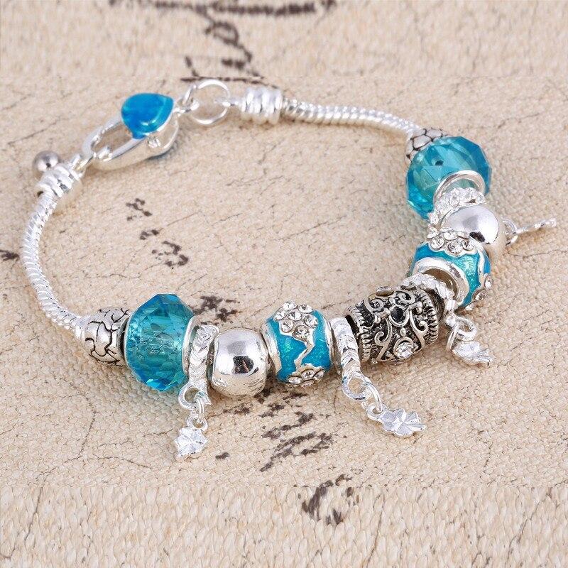 ZOSHI Pink Crystal Charm Silver Bracelets & Bangles for Women With Aliexpress Murano Beads Silver Bracelet Femme Jewelry 15