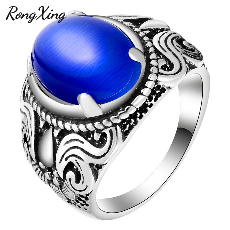 Provided Rongxing New Vintage Big Oval Blue/green/white/red Moon Stone Rings For Women 925 Silver Filled Opal Ring Fashion Jewelry Zr0029 Wedding Bands Wedding & Engagement Jewelry