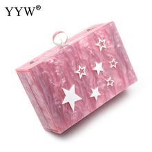 Woman New Acrylic Wallet Brand Fashion Small Wedding Handbag Luxury Pink Star Pattern Eveningbag Woman Party Prom Casual Clutch