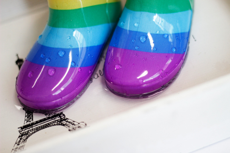 Dziecięce kreskówki tęczy antypoślizgowe wodoodporne kalosze buty - Obuwie dziecięce - Zdjęcie 5