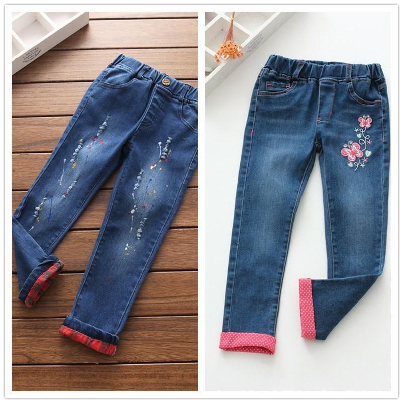 Girl Pants Denim Full Length Jeans Trousers Baby Kids Clothing Girl Washing Denim Pants Girls All Match Clothes Girl Pants 2017