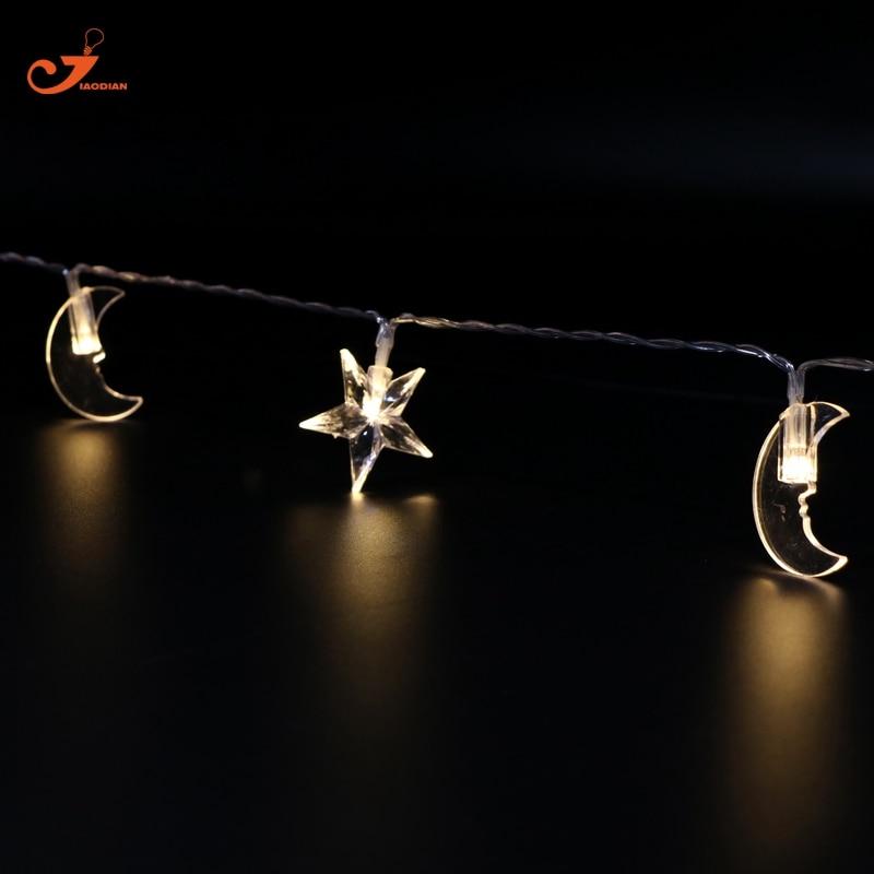 Star fairy lights Battery powered Moon string garland lighting Wedding Decoration Room Christmas Xmas garden light Ramadan Decor цена 2017