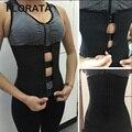 FLORATA Hook Zipper Rubber Latex Waist Trainer Sexy Waist  Corsets Waist Cincher Corset Tops Body Slimming Shaper
