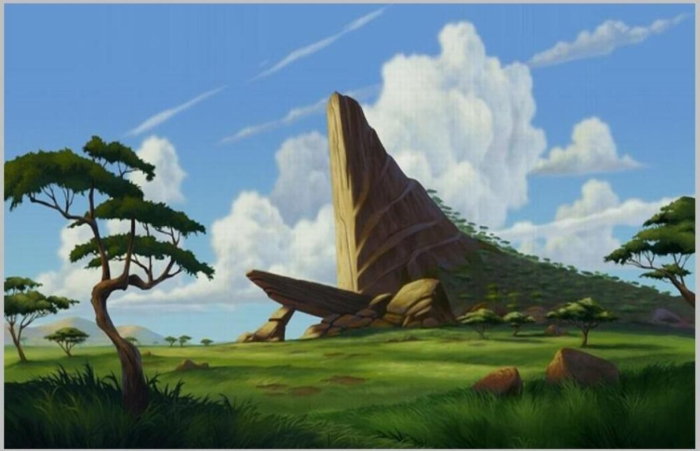 scenic backdrop Vinyl cloth High quality Computer print Blue Sky White Clouds Lion King Grassland Rocks Tree background