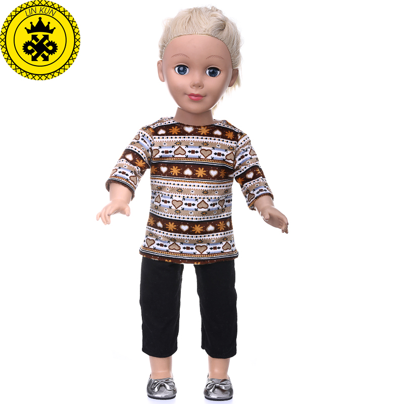 American Girl Doll Clothes Brown Sweater + Black Pants Suit Clothes for 18 inch Dolls Madame Alexander Doll Accessories MG-202 handmad 18 inch american girl doll clothes princess anna dress fits 18 american girl doll mg 032