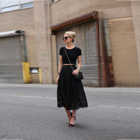 Beautiful Black Lace Skirt A Line Mid Calf Midi Skirt With Lining Custom Made Skirt