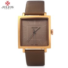 JULIUS Cuarzo de Señora de la Marca de Relojes Mujeres de Lujo Rose Gold Square Antique Leather Casual Dress reloj de Pulsera Relogio Feminino Montre