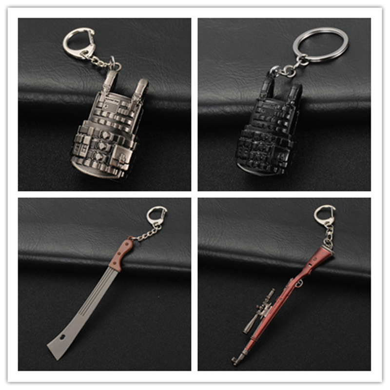 2PUBG Playerunknown's Battlegrounds Chaveiro Weapons Llaveros Model Keychain Metal Alloy Holder For Souvenir Cosplay Props Key Ring