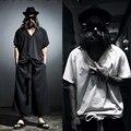 2016 new summer punk style Pastoral unique woven deep V neckline T shirts men casual loose Bat sleeve T-shirts for men M-XXL
