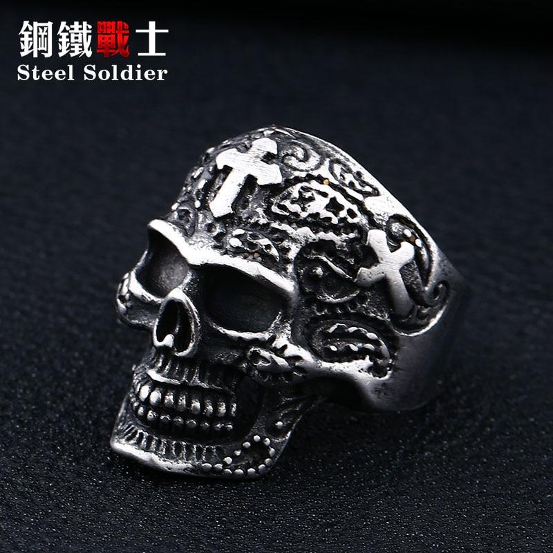 Ushtarak çeliku, kafkë unazë, punk unazë, punk unazë, retro - Bizhuteri të modës - Foto 4