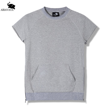 2017 Summer New Mens Clothing Short Sleeves Shirt for Mens O Neck Sweatshirts With Large Kangaroo Pouch Hoody Mens Thin Shirt