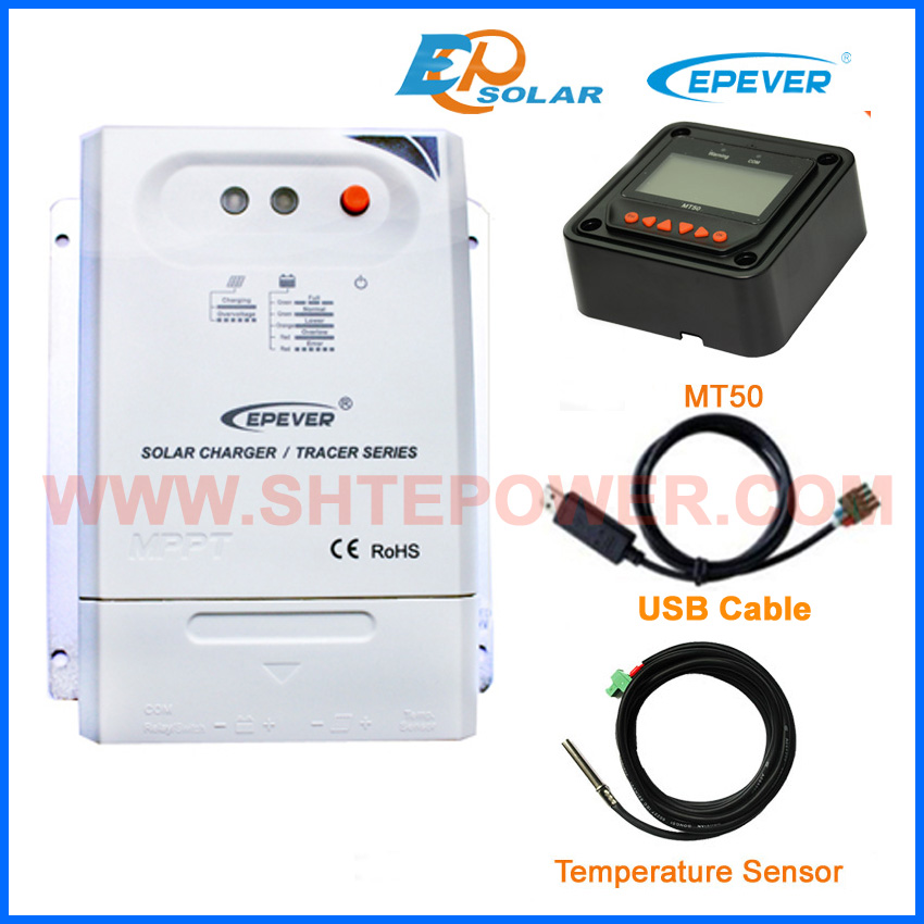 EPsolar MPPT Tracer2210CN 20A 20amp solar controller with black MT50 USB+sensor 12V/24V auto type wifi box for android app connect use solar panel controller tracer2210cn 12v 24v auto work with usb cable 20a