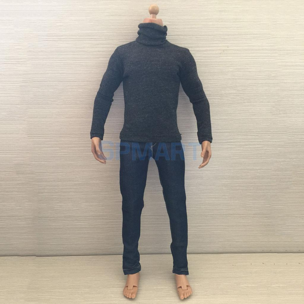 1/6 Scale Mens Long Sleeve Turtle Polo Neck T-shirt & Jeans Set for 12 Male Action Figure